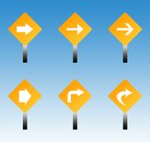 Road traffic signs. Set of six directional road traffic signs with blue sky background Stock Images