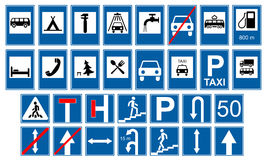 Road traffic signs collections. Isolated on white, illustration Stock Photo