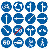 Road traffic signs collections. Isolated on white, illustration Royalty Free Stock Photo