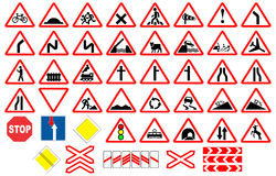 Road traffic signs collections. Isolated on white, illustration Stock Image
