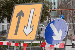 Road traffic signs at construction works. In London, England Royalty Free Stock Photo