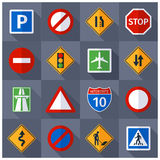 Road traffic signs flat icons set Stock Photo