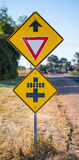 Road Traffic Signs, Give Way and Train Crossing. Royalty Free Stock Photography