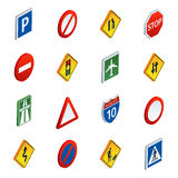 Road traffic signs isometric icons set Royalty Free Stock Photo