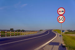 Road with traffic signs Stock Photography
