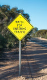 Road Sign, Traffic Entering. Stock Photography