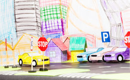 Road traffic in the toy city with parking and cars Royalty Free Stock Photo