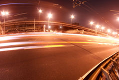 Road traffic trails night Royalty Free Stock Images
