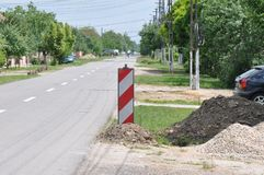 Safety pole post. Road traffic works safety pole post obstacle detour sign Stock Photography