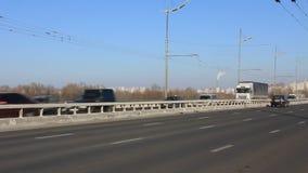 Road. Trafficway in Kiev, Ukraine stock video