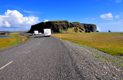 Road with trailers in Iceland Royalty Free Stock Image
