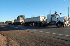Road train. In mining town, Australia Royalty Free Stock Photo