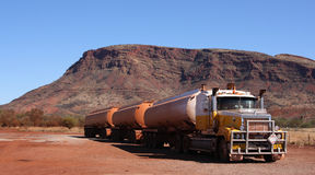 Road train. Big track in western-australia royalty free stock photography