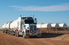 Road Train And Oil Tanks Royalty Free Stock Photo