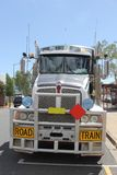 Transport of consumer goods by road train in Australia Royalty Free Stock Photography