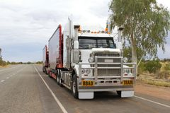 Transport by road train in the Australian Outback, Australia stock photography