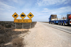 Road train on the Eyre Highway. Nullarbor Plain, including iconic sign look out for camels, kangaroos, wombats. This part of the Nullarbor is known as the Stock Photography