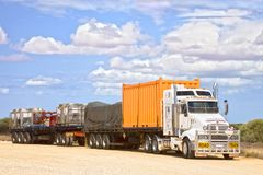 Road Train Carrying Shipping Containers royalty free stock photo