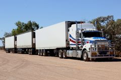 Heavy freight trailer transport by Road Train in Australia Royalty Free Stock Images