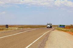 Road train trucks Stuart Highway, Australia Stock Photos