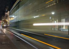 Road with tramway in san francisco at night stock photos