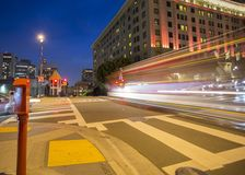 Road with tramway in san francisco at night stock image