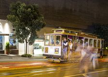 Road with tramway in san francisco at night stock images