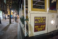 Road with tramway in san francisco at night royalty free stock photo