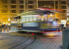 Road with tramway in san francisco at night stock photography
