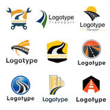 Road, transport . Abstract element set of logo templates Royalty Free Stock Photos