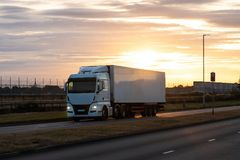 Road transport, Lorry on the road stock photo