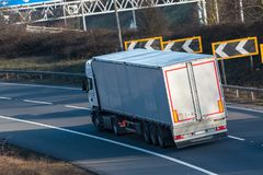 Road transport - lorry in motion royalty free stock photo