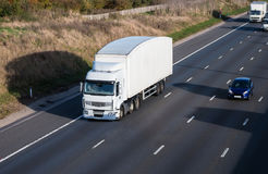 Road transport. Lorry on the motorway royalty free stock image