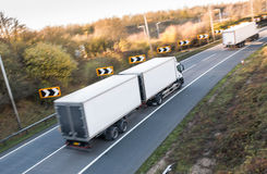 Road transport. Lorry on the road royalty free stock photo