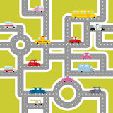 Road and transport seamless pattern. Cartoon map of cars. And traffic. Bus and ambulance. Taxis and scooter. Texture of Cars for childrens fabric stock illustration