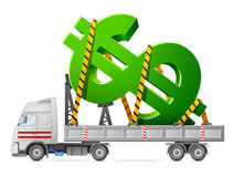 Road transportation of dollar symbol Stock Images