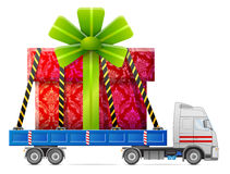 Road transportation of gift box Royalty Free Stock Photography