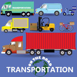 On the road transportation icons Stock Photos