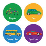 Road transportation icons set illustration Stock Photography