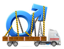 Road transportation of male symbol. Big man sign in back of truck. Qualitative vector illustration about man biology and health, male psychology (father, son) Royalty Free Stock Images