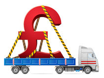 Road transportation of pound sterling symbol Royalty Free Stock Photo