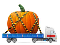 Road transportation of pumpkin fruit Royalty Free Stock Image