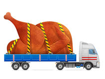 Road transportation of roast turkey, chicken Stock Image