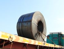 Road Transporting Steel Rolls on Truck Stock Photos
