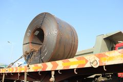 Road Transporting Steel Rolls on Truck Royalty Free Stock Photo
