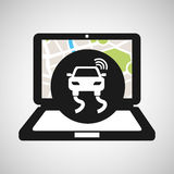 Road travel laptop map gps Royalty Free Stock Photos