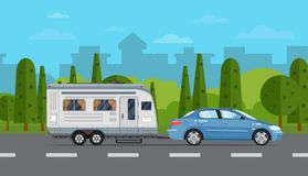Road travel poster with car and trailer. Road travel poster with car and camping trailer on countryside background. RV trailer caravan, compact motorhome, mobile Royalty Free Stock Photos