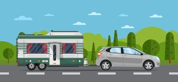 Road travel poster with hatchback car and trailer. Road travel poster with hatchback car and camping trailer on nature background. RV trailer caravan, compact Royalty Free Stock Images