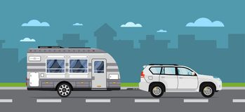 Road travel poster with suv car and trailer. Road travel poster with suv car and camping trailer on highway. Modern RV trailer caravan, compact motorhome, mobile Royalty Free Stock Images