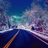 Road, travel, snow Stock Photography